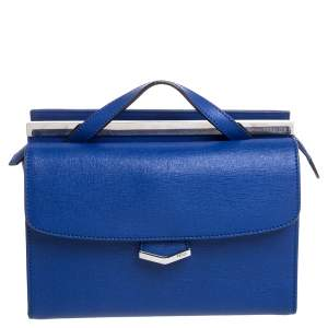 Fendi Blue Textured Leather Mini Demi Jour Top Handle Bag