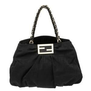 Fendi Black Canvas and Patent Leather Large Mia Shoulder Bag