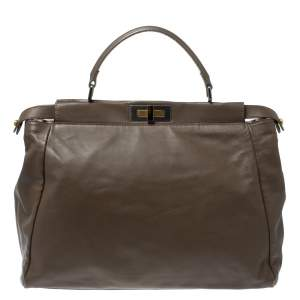 Fendi Dark Beige Leather Large Peekaboo Top Handle Bag