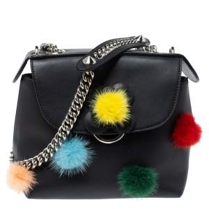 Fendi Leather Mini Mink Pom Pom Back To School Backpack