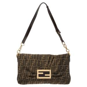 Fendi Tobacco Zucca Canvas and Patent Leather Mia Flap Shoulder Bag