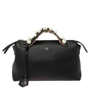 Fendi Black Leather Small Pearl Embellished By The Way Satchel