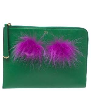 Fendi Green Leather and Faux Fur Monster Zipper Pouch