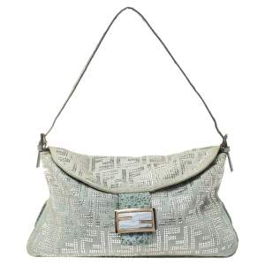Fendi Light Blue Denim FF Crystal Embellished Mama Baguette Bag