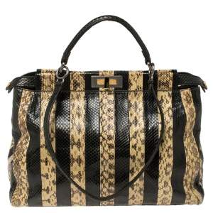 Fendi Multicolor Snake Large Peekaboo Top Handle Bag
