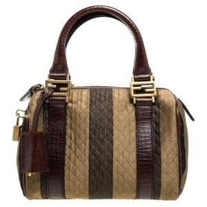 Fendi Tobacco Stripe Fabric Mini Forever Bauletto Boston Bag