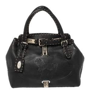حقيبة يد فندي فيلا بورغس جلد سيلريا سوداء