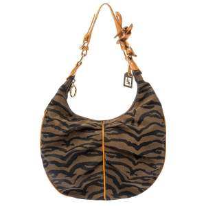 Fendi Tobacco/Tan Striped Tiger Canvas and Leather Hobo