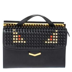 Fendi Black Textured Leather Mini Studded Monster Demi Jour Top Handle Bag
