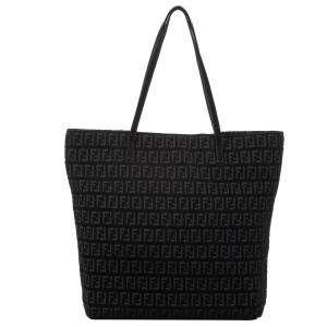 Fendi Black Zucchino Canvas Tote Bag
