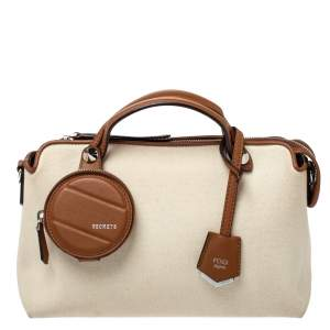 Fendi Beige/Brown Canvas and Leather Medium By The Way Boston Bag