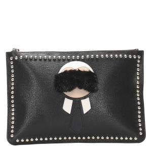 Fendi Black Leather Karlito Flat  Clutch