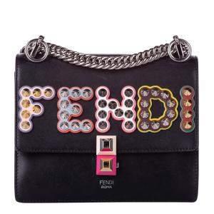 Fendi Black Leather Studded Leather Crossbody Bag