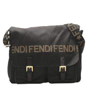 Fendi Black Leather/Nylon Vintage Messenger Bag