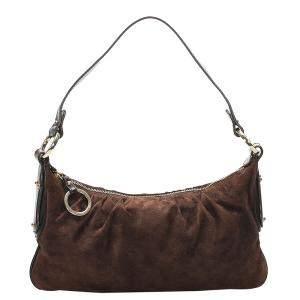 Fendi Brown Suede Shoulder Bag