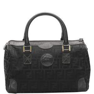 Fendi Black Canvas   Boston  Bags