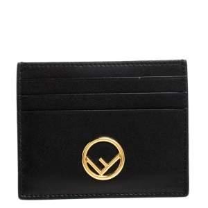 Fendi Black Leather F Card Holder