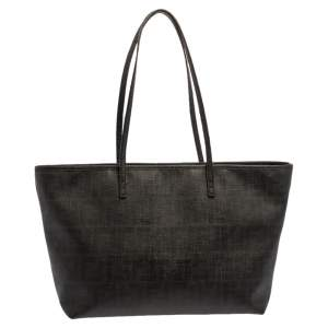 Fendi Black Zucca Coated Canvas Spalmati Roll Shopper Tote