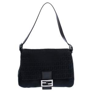 Fendi Black Canvas and Leather Mama Baguette Bag