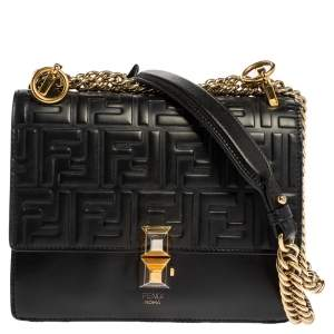 Fendi Black Leather Small Kan I Logo Embossed Shoulder Bag