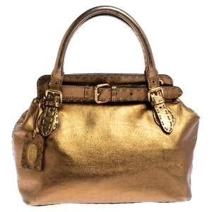 Fendi Gold Selleria Leather Villa Borghese Tote