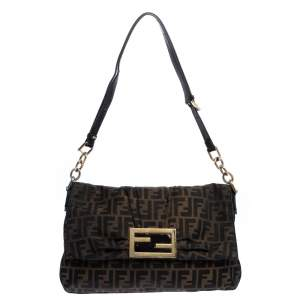 Fendi Tobacco Zucca Canvas Mia Flap Shoulder Bag