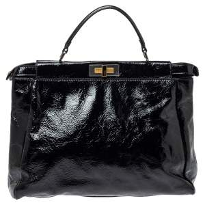 Fendi Black Patent Leather Large Peekaboo Top Handle Bag