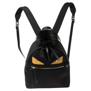 Fendi Black Nylon, Leather and Fur Monster Eyes Backpack