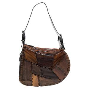Fendi Brown Fabric and Lizard Wood Embellished Oyster Hobo