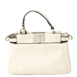Fendi Off White Leather Micro Peekaboo Top Handle Bag