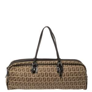Fendi Brown Zucchino Canvas East West Boston Bag