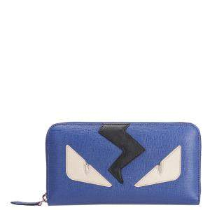 Fendi Blue Leather Monster Zip Wallet