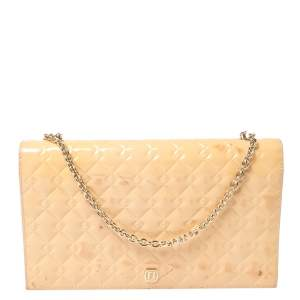 Fendi Beige Embossed Patent Leather Flap Chain Clutch