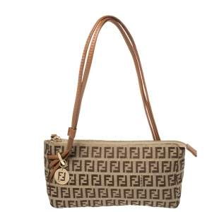 Fendi Beige/Brown Zucchino Canvas and Leather Baguette Bag