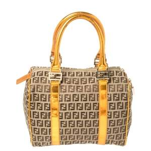 Fendi Beige/Metallic Orange Zucchino Canvas and Patent Leather Small Forever Bauletto Boston Bag