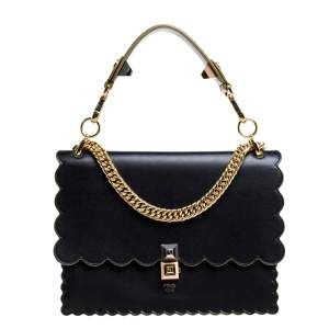 Fendi Black Leather Kan I Scalloped Shoulder Bag