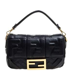Fendi Black Zucca Embossed Leather Baguette Bag