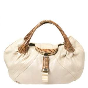 Fendi Light Beige Iridescent Textured Leather and Ostrich Spy Bag