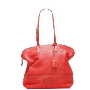 Fendi Red Leather Selleria 2Bag Tote Bag