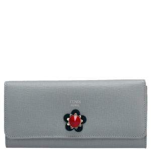 Fendi Blue Leather Flowerland Continental Wallet