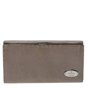 Fendi Metallic Grey Selleria Leather Continental Wallet