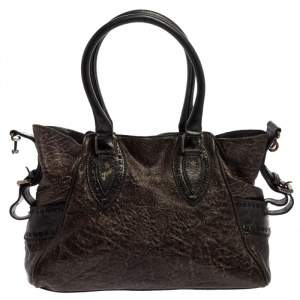 Fendi Dark Brown Shimmer Leather Small Studded Chef De Jour Bag