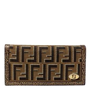 Fendi Tobacco/Gold Zucca Canvas and Textured Leather Wallet
