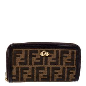 Fendi Tobacco Zucca Canvas and Leather Zip Around Wallet
