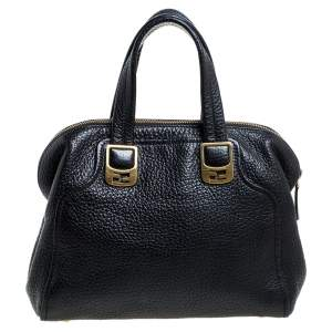 Fendi Black Pebbled Leather Chameleon Satchel
