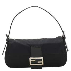 Fendi Black Canvas Mama Baguette bag