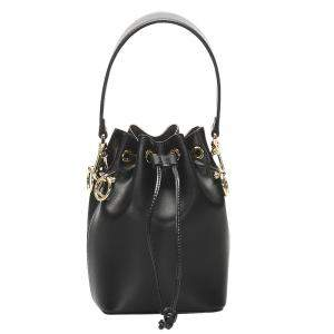 Fendi Black Leather Mini Mon Tresor Drawstring Bucket Bag