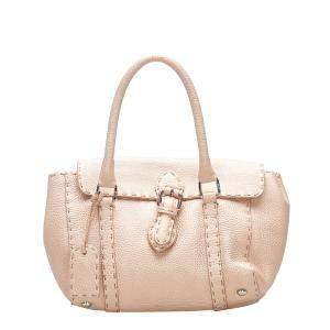 Fendi Pink Leather Selleria Linda Mini bag