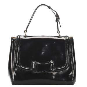 Fendi Black Patent Leather Silvana Satchel Bag