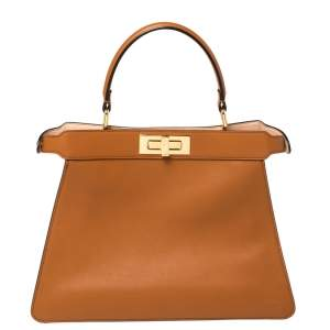 Fendi Brown Leather Medium Peekaboo ISeeU Top Handle Bag